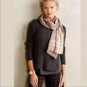 Anthropologie Moth Layered Cable Knit Pullover